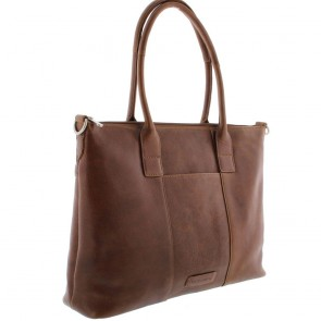 Plevier Dames Leather Tote Businessbag 483 Cognac 15 inch Voor- zijkant