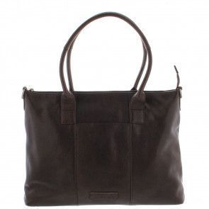Plevier Dames Leather Tote Businessbag 483 Donkerbruin 15 inch Voorkant