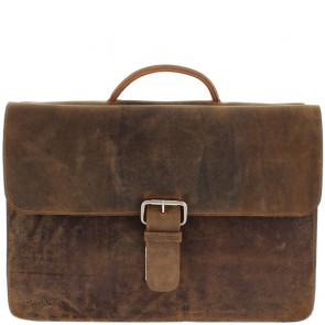 Plevier Antiek Leren Business Laptoptas 3-Vaks Bruin 17 inch Voorkant