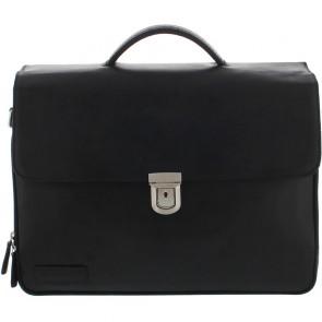 Plevier Leren Heren Laptoptas 3-Vaks Zwart 15.6 inch Voorkant