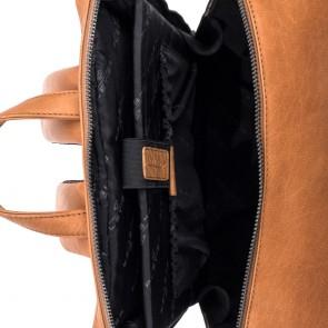 Plevier Leren Laptop Rugtas 15.6 inch Rock Slate Cognac Binnenkant