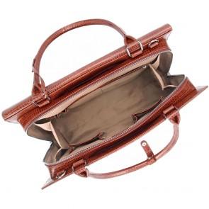 SOCHA Dames Laptoptas 15.6 inch Silver Tip Croco Bruin Open