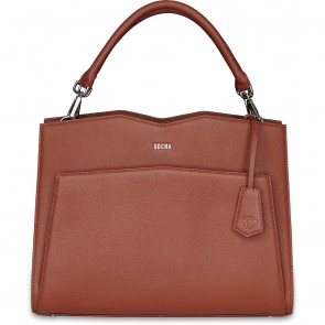 SOCHA Leren Dames Laptoptas 14 inch Diamond Edition Shoulder Cognac voorkant