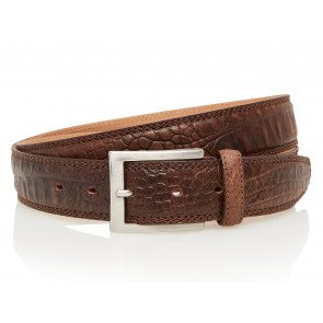 Take-It 510 Croco Print Dames Volnerf Leren Fashion Riem 105/3,5 Cm Dark-Brown