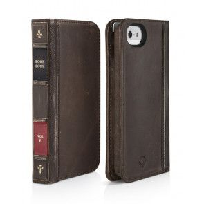 Twelve South BookBook iPhone 5/5S/SE Case Wallet Vintage Brown voorkant en achterkant