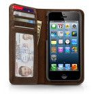 Twelve South BookBook iPhone 5/5S/SE Case Wallet Vintage Brown staand geopend klemsysteem zichtbaar